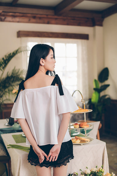 Korean fashion(&Japanese) Bow tie Hepburn Short sleeves shirt - AddOneClothing