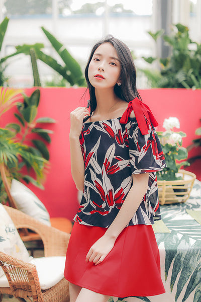 Korean fashion(&Japanese) printing collar Bow tie Short-sleeved chiffon shirt - AddOneClothing