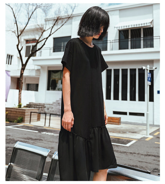 Street Fashion  Pure cotton stitching thin section lotus leaf dress