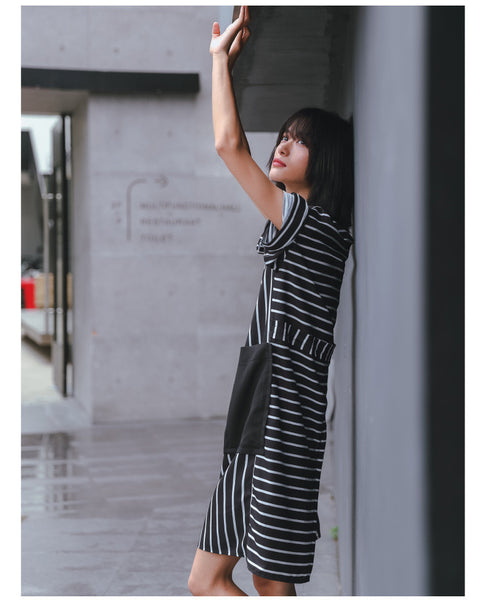 Street Fashion Stitching big pockets striped dress