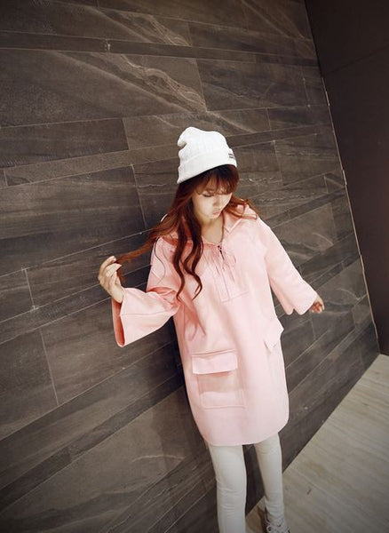 Korean Style - Pink hooded long top - AddOneClothing - 2