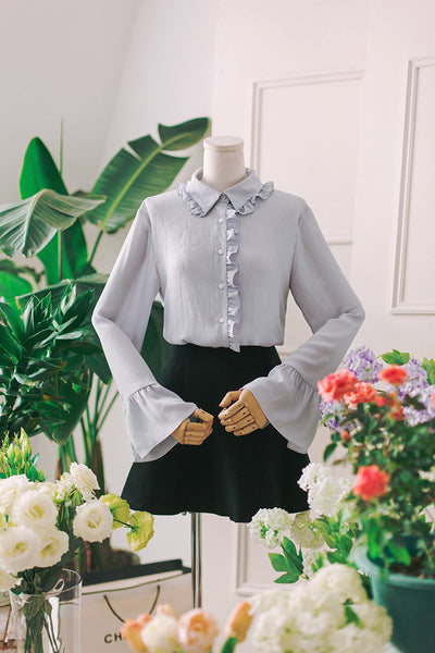 Korean fashion wood ear lapel temperament row chiffon shirt - AddOneClothing