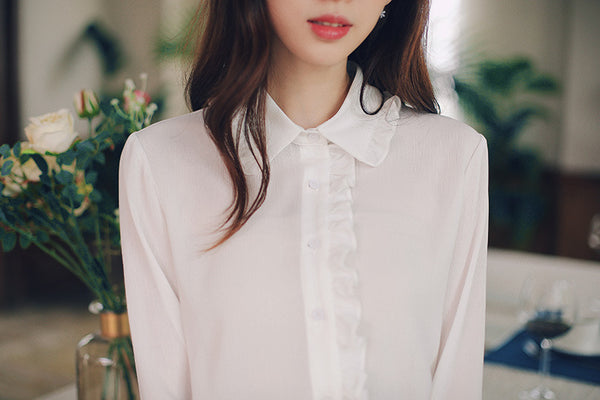 Asian Fashion - flare sleeve chiffon shirt - AddOneClothing