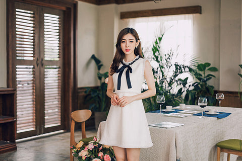 Korean fashion - autumn round neck sleeveless dress - AddOneClothing