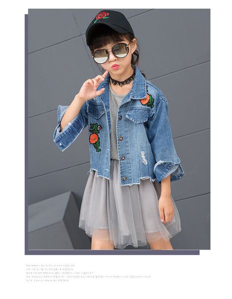 Children's fashion denim jacket children's jackets cardigan - AddOneClothing