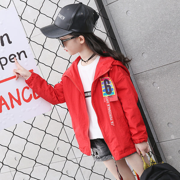 Children's fashion ribbon hooded long coat - AddOneClothing