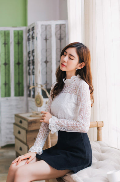 Korean fashion -- stand collar lace shirt - AddOneClothing