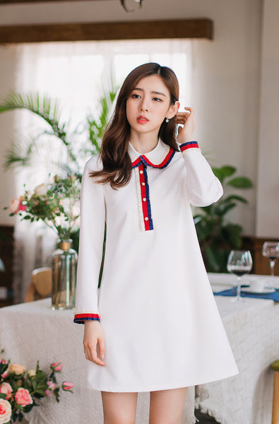 Korean fashion - pleated lapel dress - AddOneClothing