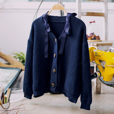 Korean fashion V-collar single-breasted sweater coat - AddOneClothing