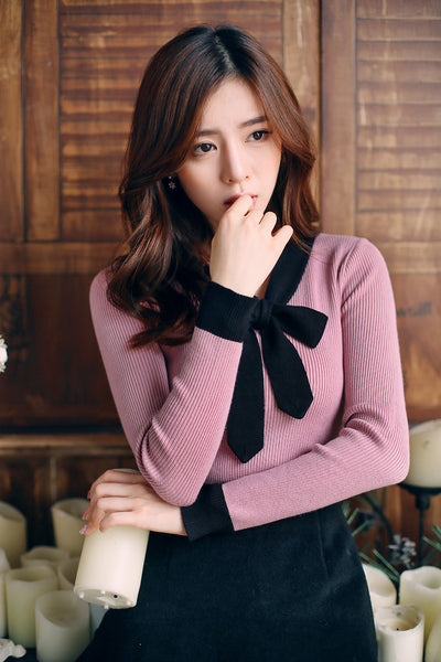 Korean fashion - knit slim long-sleeved top - AddOneClothing