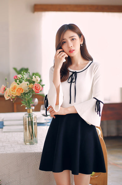 Korean fashion -- Round neck collar knit slim dress - AddOneClothing