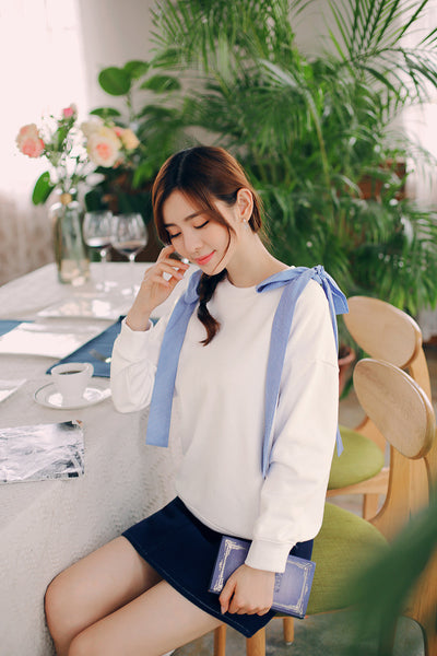 Korean fashion round collar hollow lace bow hoody - AddOneClothing
