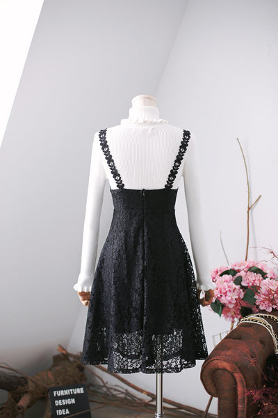 Korean fashion V-neck lace thin dress - AddOneClothing