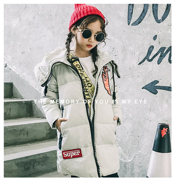 Children's fashion Winter 80% white duck down jacket - AddOneClothing