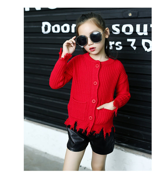 Kids Korean fashion knitted cardigan jacket - AddOneClothing