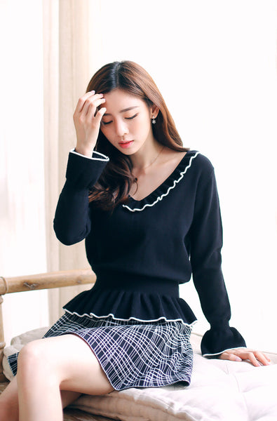 Korean fashion long-sleeved thin sweater - AddOneClothing