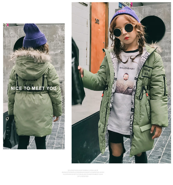 Children winter fashion long section of the big boy collar collar jacket - AddOneClothing