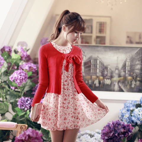 Korean fashion(&Japanese) air-conditioned with Bow knit top - AddOneClothing