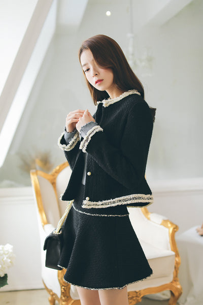 women fashion  woolen jacket + A word woolen skirt suit - AddOneClothing