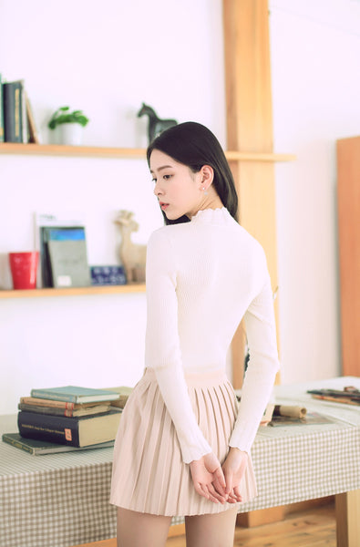 Asian Fashion - High-necked slim knit top - AddOneClothing