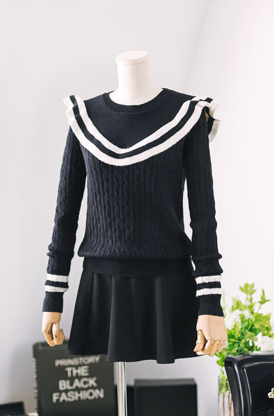 women fashion long sleeved knitted sweater - AddOneClothing