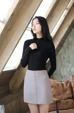 Asian Fashion - High waist single-breasted skirt - AddOneClothing