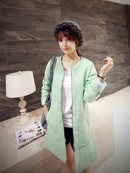 Korean Style - long woolen coat - AddOneClothing - 2