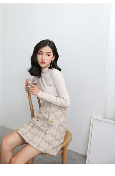 Korean Fashion - Double-breasted plaid high waist short skirt - AddOneClothing