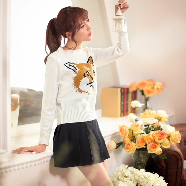 Japanese Style - Crew neck Fox pattern sweater - AddOneClothing - 2