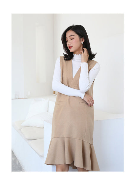 Asian Fashion -- Single color v collar wool dress - AddOneClothing