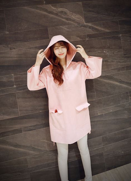 Korean Style - Pink hooded long top - AddOneClothing - 1