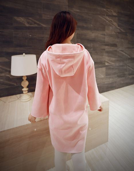 Korean Style - Pink hooded long top - AddOneClothing - 4