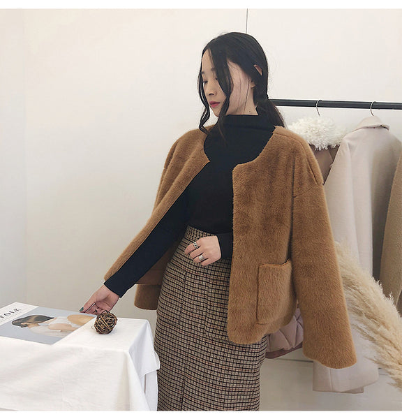 fur deerskin cashmere long sleeve cardigan - AddOneClothing