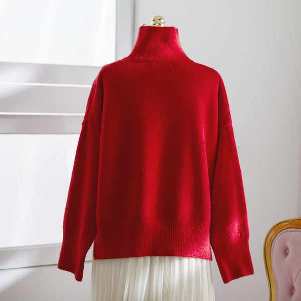 Asian Fashion -  High-necked red sweater - AddOneClothing