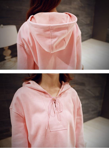 Korean Style - Pink hooded long top - AddOneClothing - 5