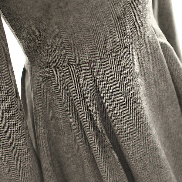 Japanese Style - woolen pleated A-line dress - AddOneClothing - 7