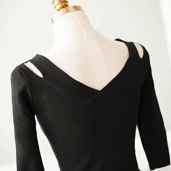 V-neck knit nine points sleeve dress - AddOneClothing - 19