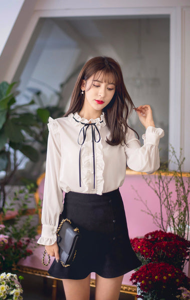 Asian Fashion - Single breasted long sleeve chiffon shirt - AddOneClothing