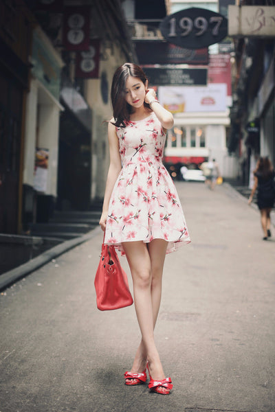 Asian Fashion - FLORAL PRINT Slim dress - AddOneClothing