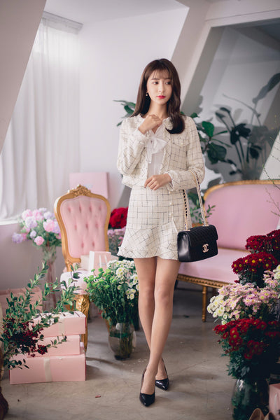 Asian Fashion - Thick cotton plaid coat + skirt suit - AddOneClothing