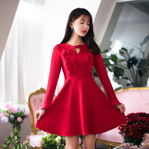 Asian Fashion - Round Neck Slim Dress - AddOneClothing