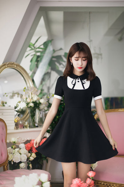 Asian Fashion - Black short dress - AddOneClothing