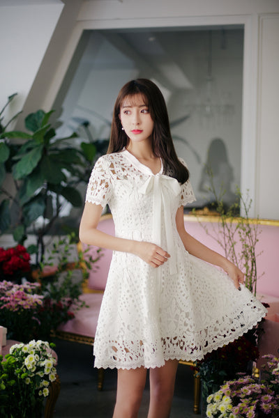 Asian Fashion - Hollow Lace Short Sleeve Slim Dress - AddOneClothing