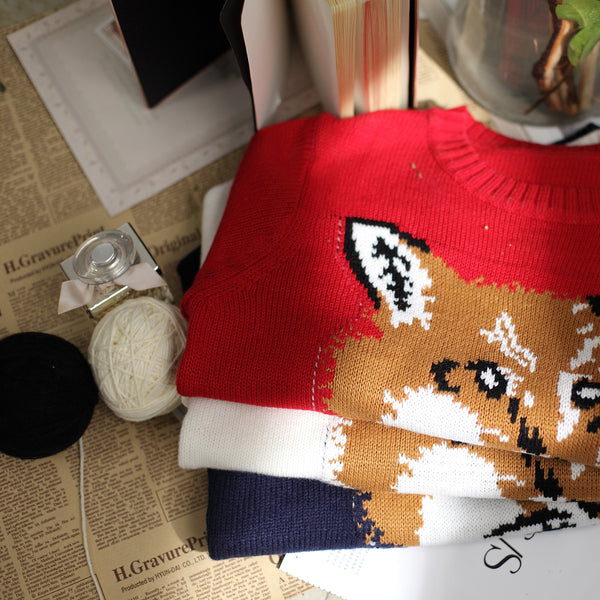 Japanese Style - Crew neck Fox pattern sweater - AddOneClothing - 6