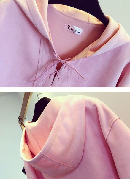 Korean Style - Pink hooded long top - AddOneClothing - 7