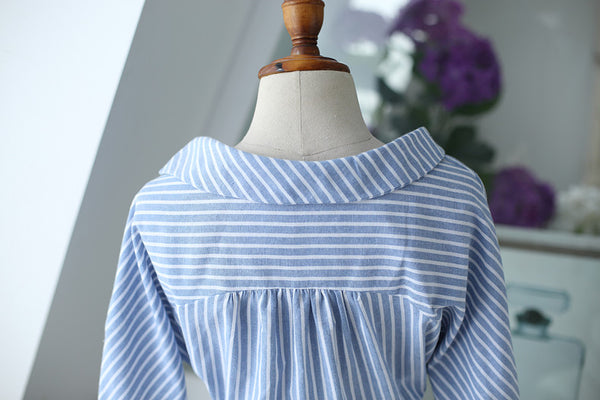 Korean fashion(&Japanese) striped long-sleeved shirt - AddOneClothing