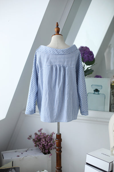 striped long-sleeved shirt - AddOneClothing - 5
