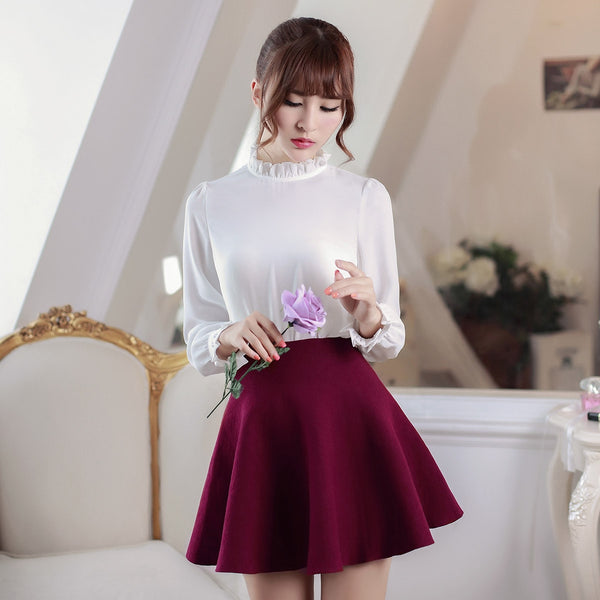 Korean fashion(&Japanese) Collar chiffon shirts - AddOneClothing
