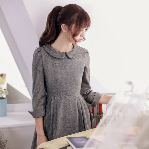 Japanese Style - woolen pleated A-line dress - AddOneClothing - 5