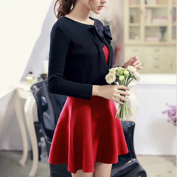 air-conditioned with Bow knit top - AddOneClothing - 3